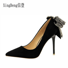 BIGTREE Women Pumps High Heels Shoes Rhinestone Bow Tie Flock Shallow Ladies Weddging