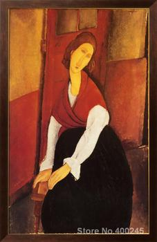 Nude painting by Amedeo Modigliani Jeanne Hebuterne in Red Shawl Redroom decor Handmade High quality image
