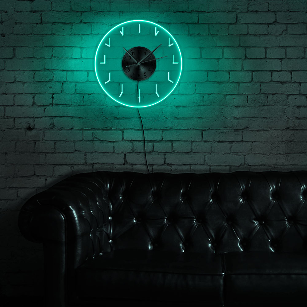Redundant LED Lighting Wall Clock Acrylic LED Edge Lit Redundancy Luminous Wall Clock Modern Design Office Room LED Wall Decor
