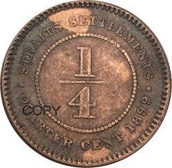 Straits Settlements eine ehemalige Britischen Königin Vitoria 1/4 Cent 1899 Rot Kupfer Kopie Münzen