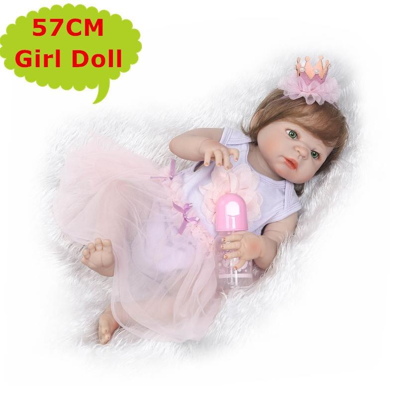 22 inch NPK Volledige Siliconen Lichaam Bebe Reborn Meisje Pop Echte Alive Prinses Baby Speelgoed In Mooie Dressing Leuke Gift kinderen Spelen Speelgoed-in Poppen van Speelgoed & Hobbies op  Groep 1