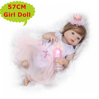 22inch NPK Full Silicone Body Bebe Reborn Girl Doll Real Alive Princess Baby Toy In Beautiful Dressing Cute Gift Kids Play Toys