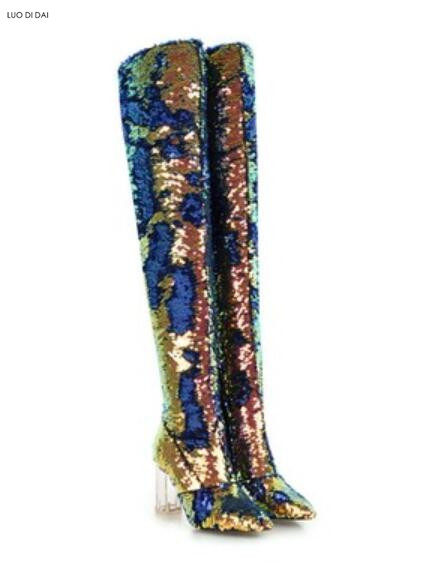 2019 new women sequin boots thigh high booties clear heel over knee high  boots ladies party shoes fashion glitter bling booties-in Over-the-Knee  Boots from ... 666d8c5eefdd