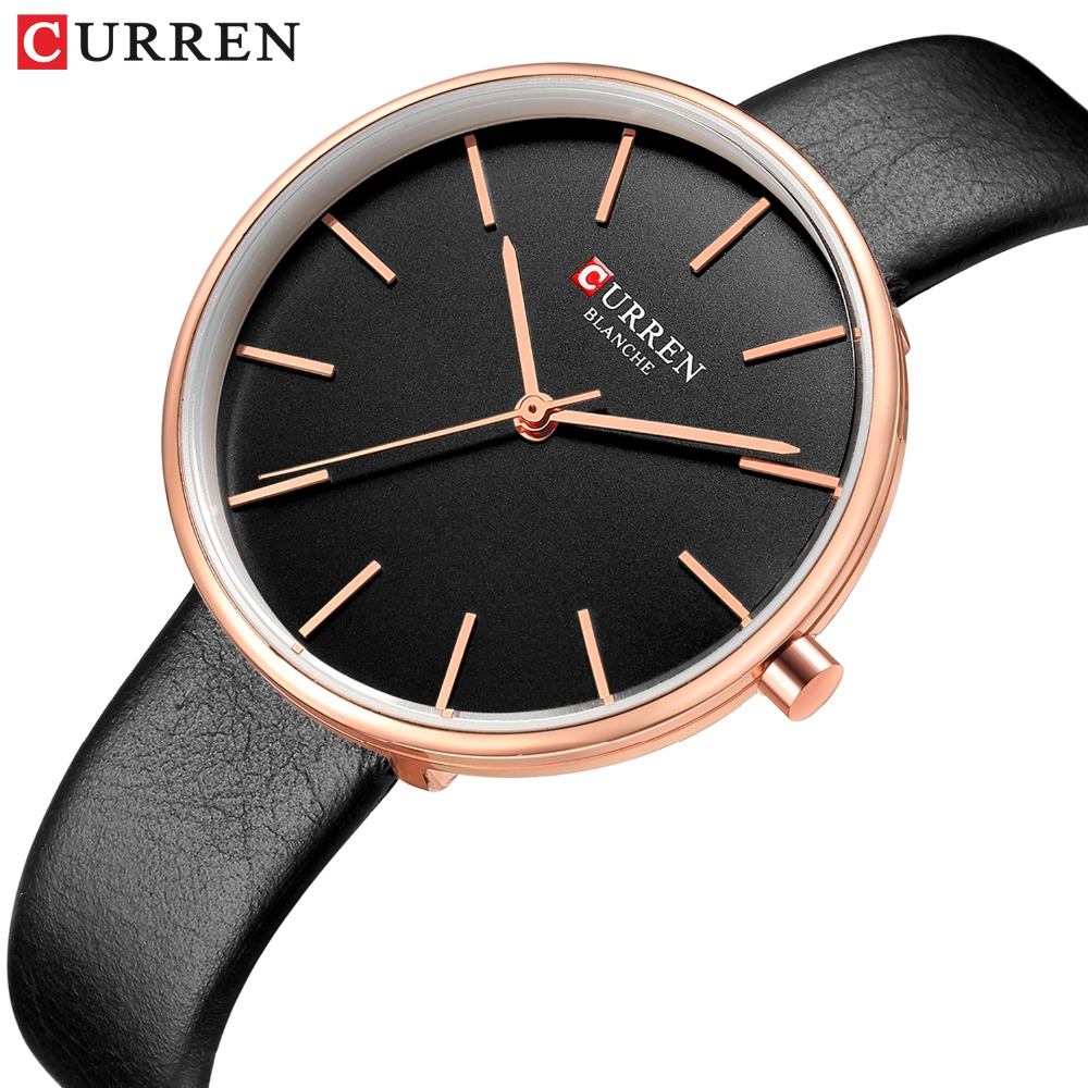 CURREN Fashion Slim Quartz Watches Ladies Leather Strap Wristwatch Womens Watch Black Clock Female Casual Accessories Relojes