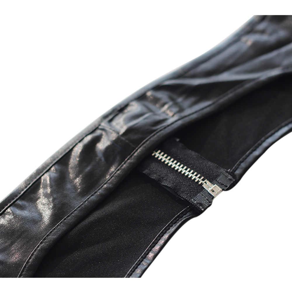 เซ็กซี่ผู้หญิงต้นขาสูงหนังถุงน่องซิปด้านหน้าเปิด Crotch หญิงเร้าอารมณ์ Wetlook สีดำไวนิล Gothic ยาวถุงน่อง