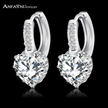ANFASNI 2017 Top Selling Silver Color Luxury Hoop Earring Inlay Zircon Fashion Brilliant Heart Ladies Wedding