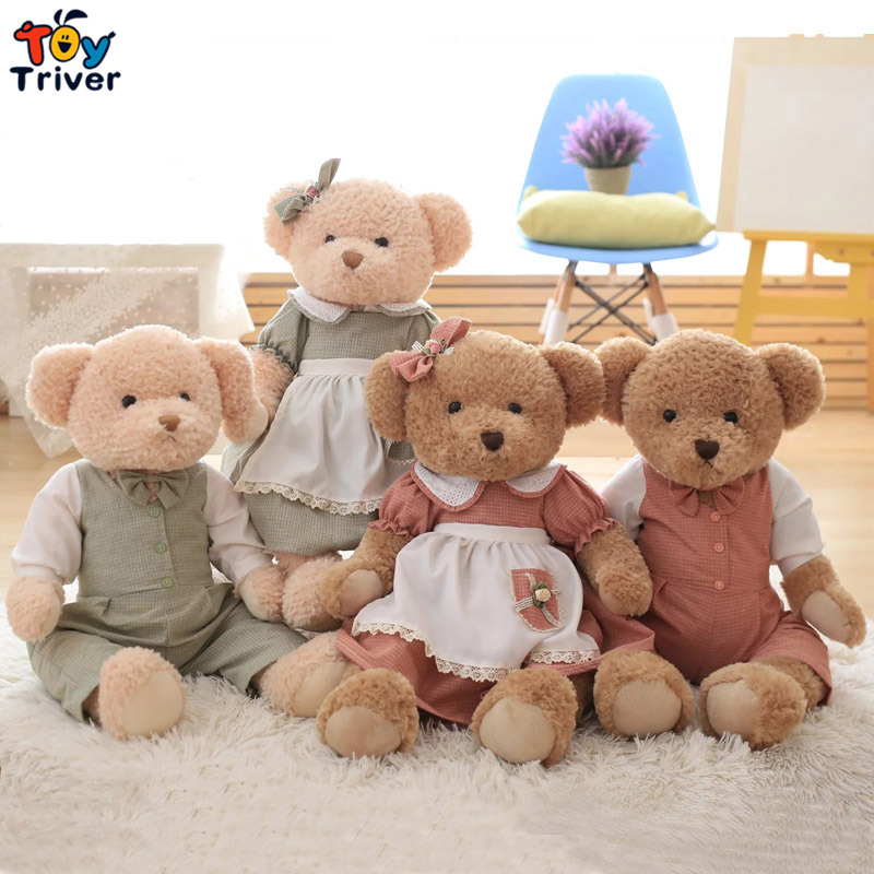Quality Plush Couple Teddy Bear Toy Retro Pastoral Pastoral Style Girlfriend Wedding Gift Home Shop Living Decoration Triver  цена и фото