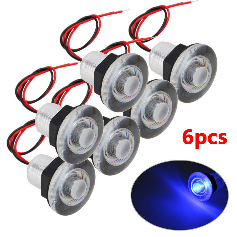 6PCS/lot 12V 38mm Blue LED Light Boat Marine RV Courtesy Livewell Lamp Waterproof Submersible