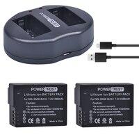 2 шт. DMW-BLC12 DMW blc12 DMW blc12e Батареи для камеры + Dual USB Зарядное устройство для Panasonic fz1000, FZ200, fz300, g5, G6, G7, GH2, dmc-gx8