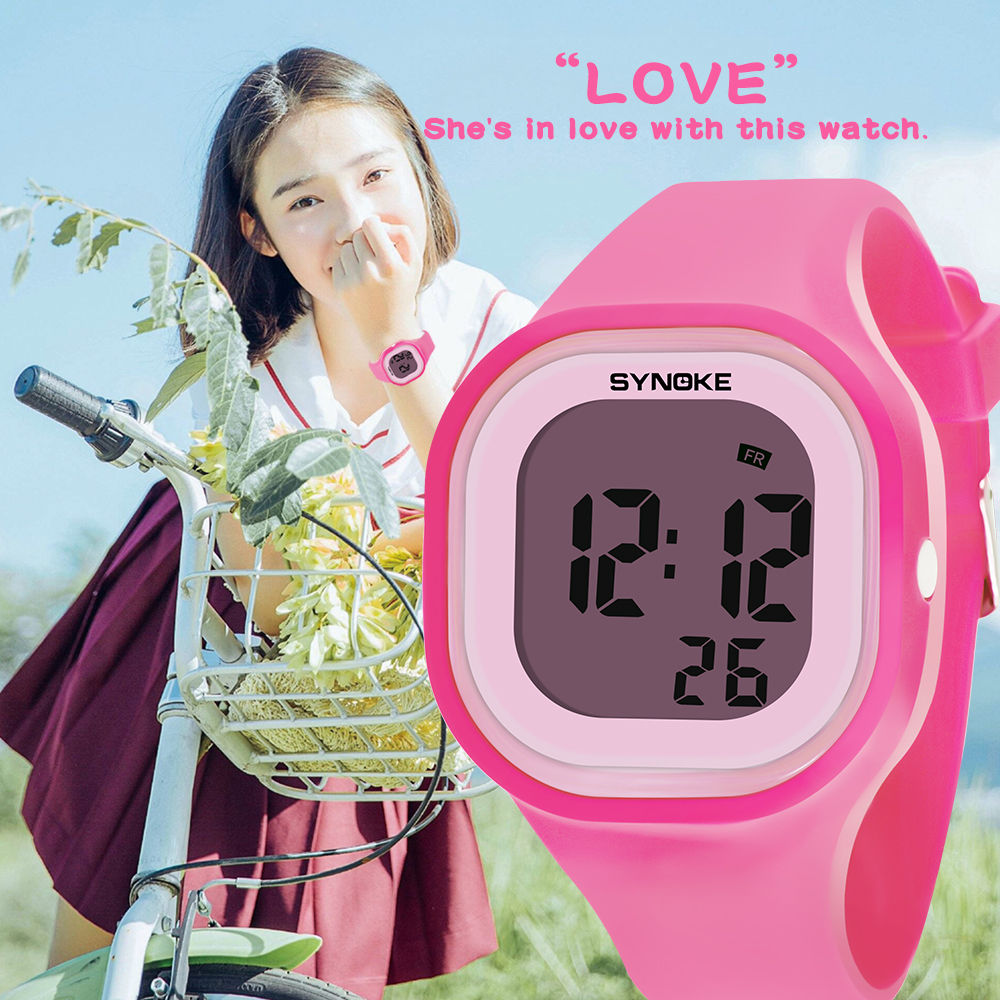 Children's Watches Silicone Band Outdoor Sport Watch Kids Waterproof Luminous Digital Electronic Watch for Teen Boys Girls Pink