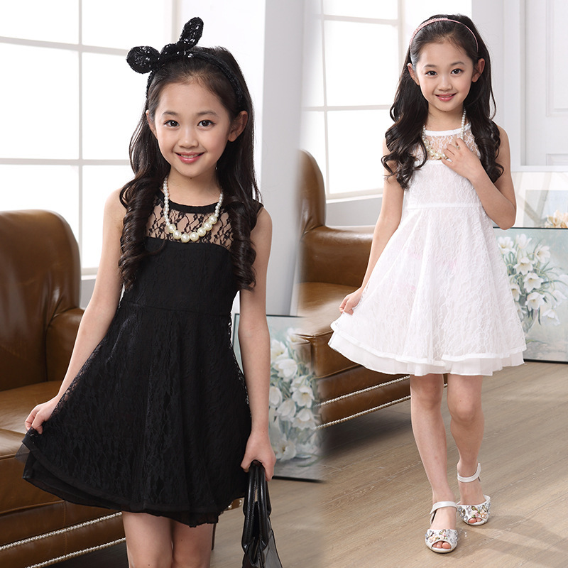2017 New Girls Summer Clothing Children Fishion Lace Princess Dress Kids Party Casual Sleeveless O-Neck Dresses children s clothing 2017 summer new girls dress women s children lace princess skirt long sleeved children s yarn skirt