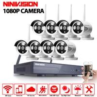 2MP CCTV System 1080P 8ch HD Wireless NVR Kit 1080p Indoor Outdoor IR Night Vision IP