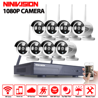 2MP CCTV System 1080P 8ch HD Wireless NVR Kit 1080p Indoor Outdoor IR Night Vision IP