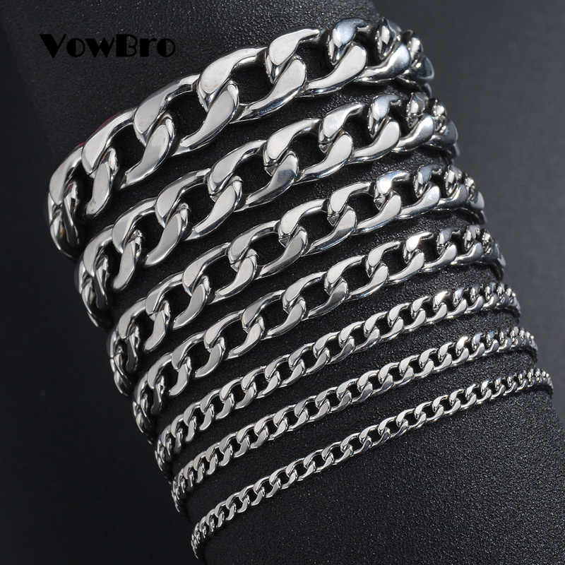 VowBro 3-11mm Men's Bracelets Silver Stainless Steel Curb Cuban Link Chain Bracelets For Men Women Wholesale Jewelry Gift