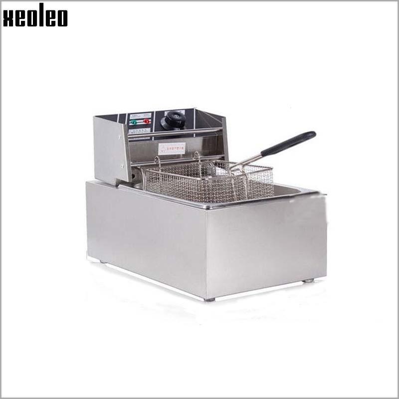 XEOLEO 6L Électrique Friteuse 2500 w Commerciale Friteuse Français frites maker Poulet À Frire machine 220 v 200 degrés réglable