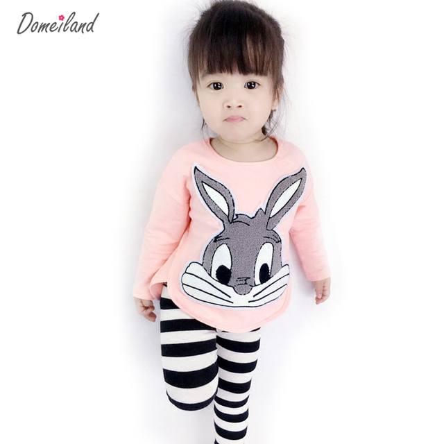 2017 new autumn cute children's Princess boutique outfits clothes sets for kids girl cotton cute rabbit sweater stripe pant suit