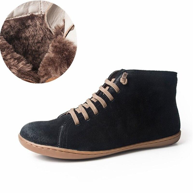 Женские зимние ботинки из натуральной кожи, весенние ботильоны на плоской подошве, женские короткие коричневые ботинки с мехом, 2019 женские ...