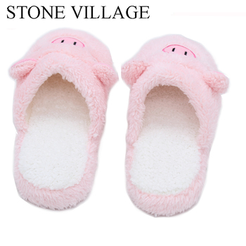 Large Size 35-45 Autumn Winter Cotton Home Slipper Pig Animal Print Cute Women Slippers Shoes Woman Pink Brown 2