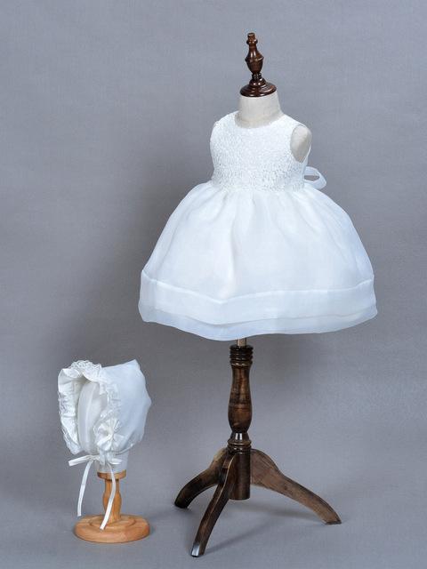 Alta calidad 2016 de los bebés dress kids dress 1 año vestidos de princesa fiesta de cumpleaños bautismo dress con sombrero envío gratis