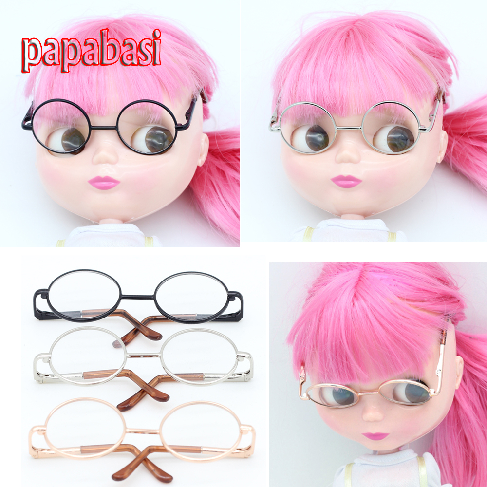 Papabasi Doll Accessories Round glasses for blythe BJD 1/6 dolls + mix free Retail packaging  new style doll accessories round shaped glasses sunglasses suitable for 1 3 bjd dolls mini doll glasses for dolls good quality