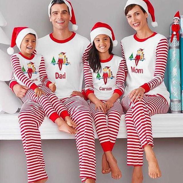 Christmas Pajamas Autumn Winter Pyjamas Women Pijama Family Matching  Pajamas Set Tops Full Length Striped Pants 77ba4f3c4