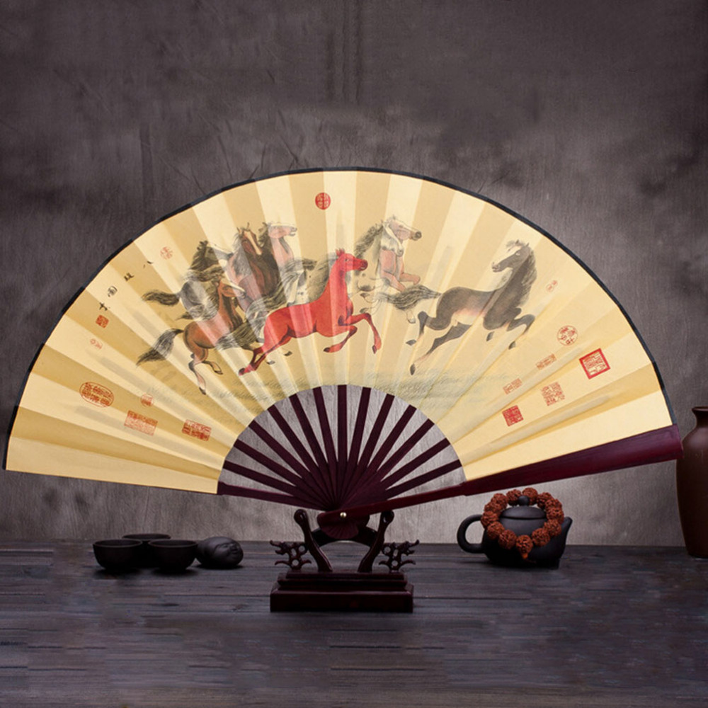 Summer Chinese Lotus Flower Pattern Silk Bamboo Folding Hand Fans ...