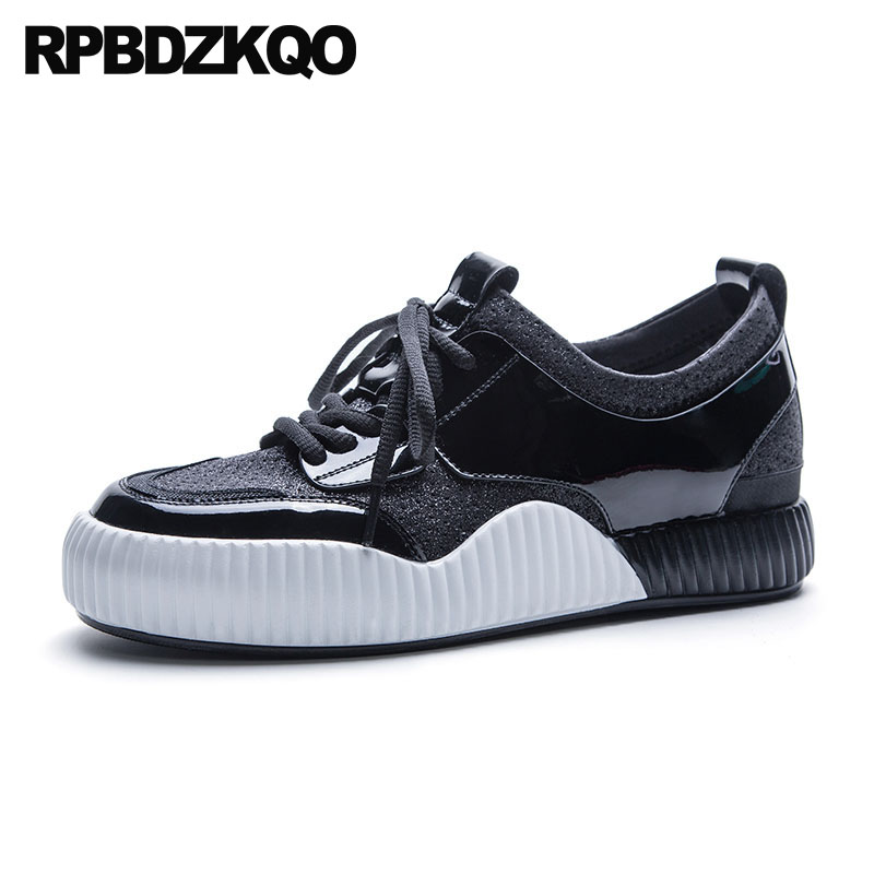 Trainers Large Size Breathable Casual Sneakers Black And White Wide Fit Shoes Ladies Lace Up Mesh Women Flats 10 Creepers instantarts women casual flats shoes ladies skull flower printed light air mesh fashion sneakers girl lace up shoes plus size