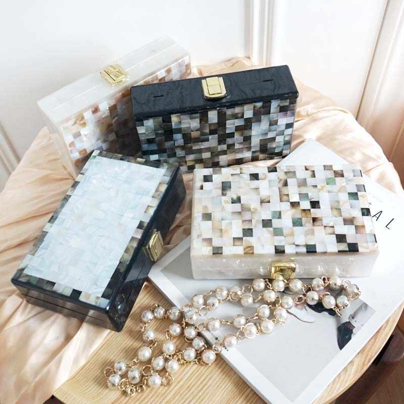 2019 роскошный дизайн оболочки клатч женская сумка мини квадратная коробка сумки Женская акриловая цепь плеча бисером жемчужные вечерние сумки G