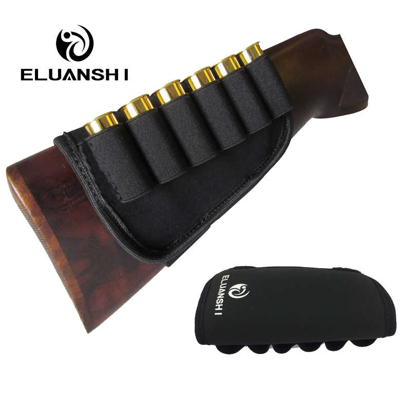 ELUANSHI Gun Accessories Buttstock 12 Gauge air in fit Ammo belt case pouch box Cartridges Holder Elastic for Hunting Shooting