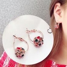 Fashion Women Earrings 2019 Cute Rhinestone Hoop Earrings For Women Accessories Vintage Round Ball Geometric Earrings Jewelry a suit of cute rhinestone geometric earrings for women