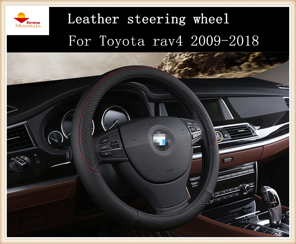 Fashion sport style leather car steering wheel cover for toyota rav4 2009 2018 china