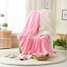 Double Lambskin Blanket Coupe Thick pure Colour Embossing Cover Home Decor Soft Absorbent Warm Flannel Throw