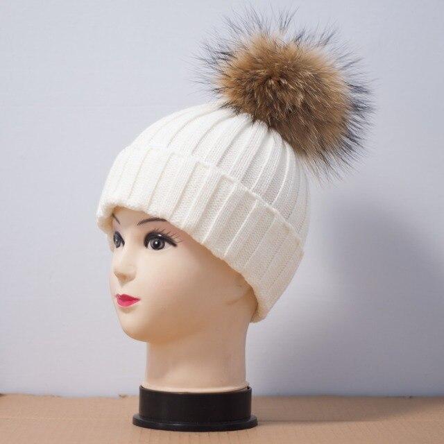 Piel de zorro casquillo de la bola de pom poms winter hat para la mujer  chica 52779697a3c2