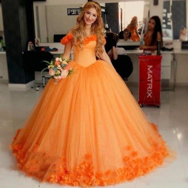 Robe De Mariage grande taille Orange fleurs