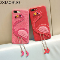 5XIAOHUO Phone Case For Iphone 6 7 Case Cartoon Flamingo Cover Colorful Geometric Graphic Soft Capa