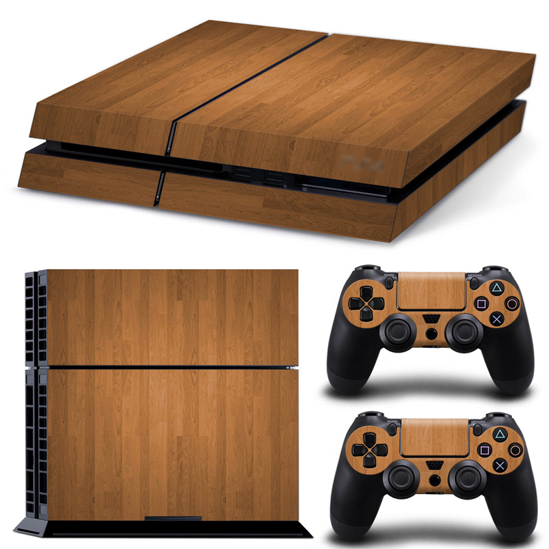 Full Set Body Custom Skin Sticker Waterproof Cover Film for Sony Playstation 4 Console PS4 Dualshock 4 Controller - Wood grain image