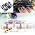 High Quality 3g/box Shinning Mirror Nail Glitter Powder Dust DIY Nail Art Sequins Chrome Pigment Decorations 12 Colors Optional