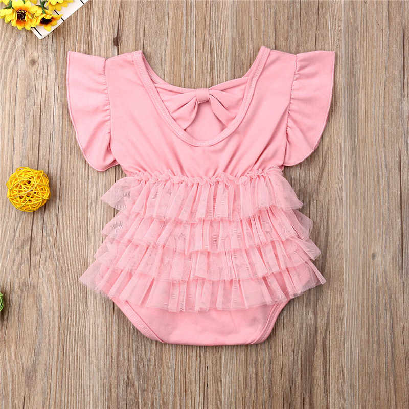 2019 New Fly Sleeve Kid Baby Girl Infant Romper Jumpsuit Back Bow Mesh Tutu Dress One Pieces Clothes Outfit Pink Red