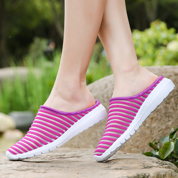 2018 Women Sandals Summer Shoes Half Slippers Flip Flops Mesh Breathable Shoes Sandals Clogs Shoes Woman Platform Big Size 35-40 2