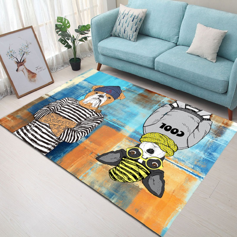 Nordic Living Room Carpet Bedroom Bedside Rug Cartoon Rectangular Floor Mat Velvet Printed Non-slip Carpet 140x200cm Door Mat