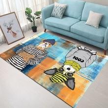 Nordic living room carpet bedroom bedside rug cartoon Rectangular floor mat velvet printed non-slip 140x200cm door