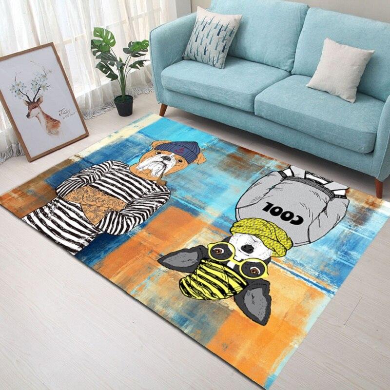 Nordique salon tapis chambre chevet tapis bande dessinée rectangulaire tapis de sol velours imprimé antidérapant tapis 140x200 cm porte tapis