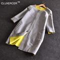 CLUXERCER Marca Trench Coat Para As Mulheres Projeto O-pescoço Espaço Algodão Casaco Comprido Para As Mulheres Feminino Manteau