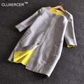 CLUXERCER Trench Coat Para Las Mujeres Del Diseño Del O-cuello de Algodón Espacio Abrigo Largo Para Las Mujeres Manteau Hembra