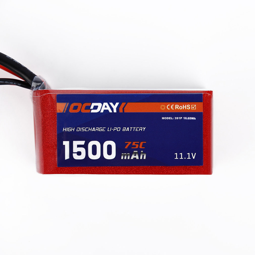 Battery of Mini Drone Headless OCDAY 11 1V 1500mAh 75C Lipo Battery XT60 Plug for 150