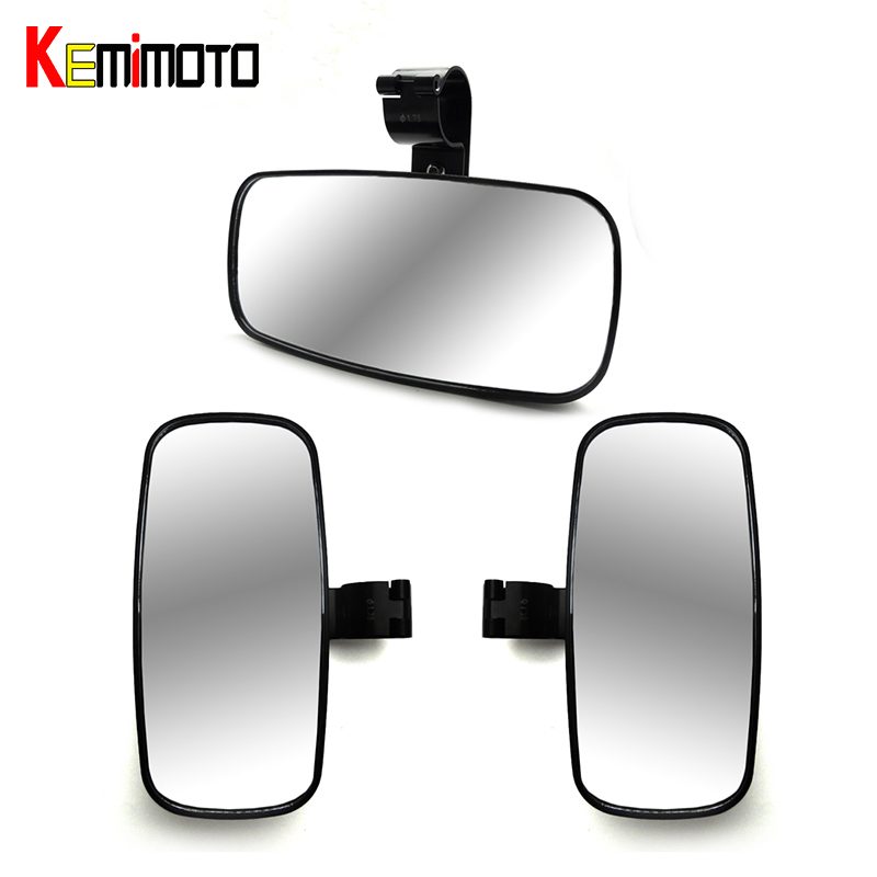 KEMiMOTO 3 pcs 2 Side Rearview Mirrors for POLARIS RZR XP 4 1000 900 For Can Am Maverick Cage for John Deer For Yamaha Viking
