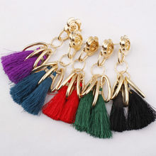6 Colors Ethnic Stylish Long Tassel Hanging Earrings for Women Retro Flower Dangle Drop Fringing earring Jewelry wholesale(China)