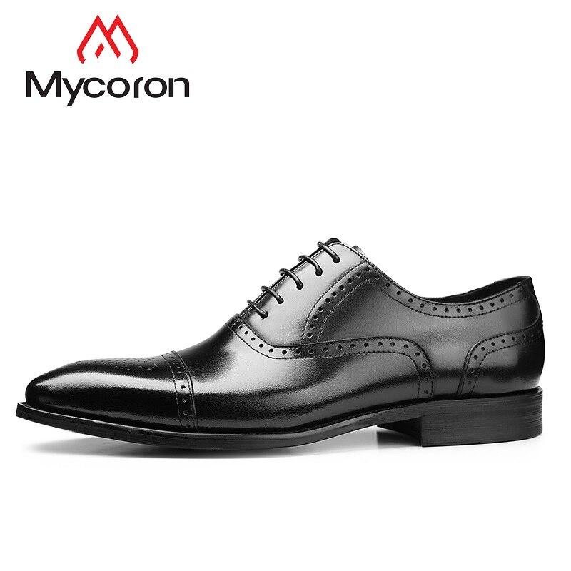 Zapatos Do Couro up Retro Vestido Noivo Dos Esculpida Lace marrom Sapatos De Negócios Homens Bullock Hombre Casamento Mycoron Oxford Preto gwq6PAaq