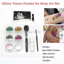 6 colors glitter tattoo kit for temporary body paint tattoo with Stencils brush Glue free shipping