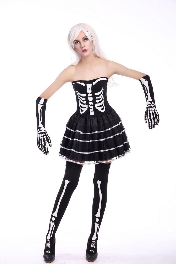 Ведьма короткое платье для взрослых женские черные Косплэй Зомби костюм для Хэллоуина Благородный Женщины платье scarey Скелет Fantasia Infantil плат...
